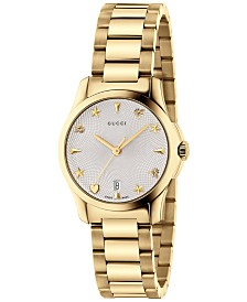 Gucci Women's Swiss G-Timeless Gold-Tone PVD Stainless Steel Bracelet Watch 27mm