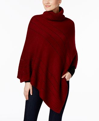 Charter Club Pointelle Diagonal Poncho, Created for Macy's