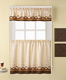 "Café Au Lait 56"" x 36"" Window Tier & Valance Set"