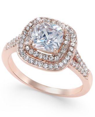 Image of Charter Club Rose Gold-Tone Stone and Crystal Double Halo Statement Ring, Created for Macy's