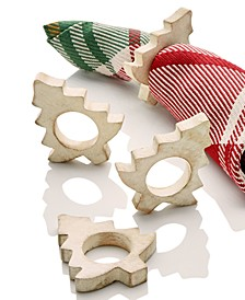 CLOSEOUT! White Spruce Napkin Rings, Set Of 4