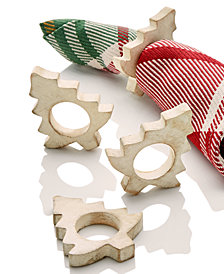 CLOSEOUT! Bardwil White Spruce Napkin Rings, Set Of 4