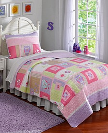 Happy Owls Reversible 3-Pc. Full/Queen Quilt Set