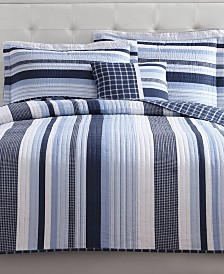 My World Mason Reversible 4-Pc. Stripe Full Quilt Set