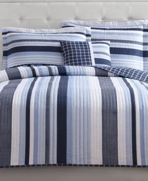 My World Mason Reversible 4-Pc. Stripe Full Quilt Set Bedding