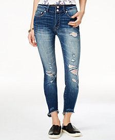Indigo Rein Juniors' Ripped Raw-Edge Skinny Jeans