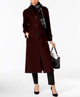 London Fog Maxi Walker Coat with Scarf