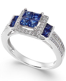 Sapphire (1 ct. t.w.) & Diamond (1/4 ct. t.w.) Ring in 14k White Gold