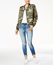 Hippie Rose Juniors' Bomber Jacket, Strappy Tank & Indigo Rein Ripped Skinny Jeans