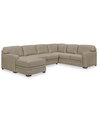 Avenell 3-Pc. Leather Sectional with Chaise, Created for Macy's
