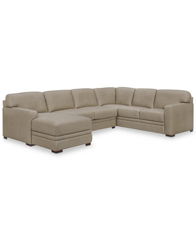 Avenell 3 Pc Leather Sectional With Chaise Created For