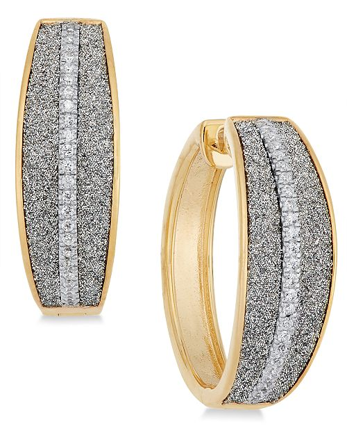 Macy's Diamond Glitter Hoop Earrings (1/5 ct. t.w.) in 18k Gold-Plated Sterling Silver