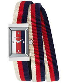 Gucci Women's Swiss G-Frame Cream-Red-Blue Nylon Wrap Strap Watch 14x25mm