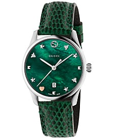 Gucci Women's Swiss G-Timeless Green Leather Strap Watch 29mm