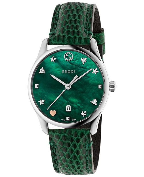 6c5e19c391a Gucci Women s Swiss G-Timeless Green Leather Strap Watch 29mm ...