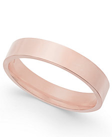 Flat-Edge Wedding Band in 18k Rose Gold