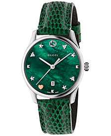 Gucci Women's Swiss G-Timeless Green Leather Strap Watch 36mm
