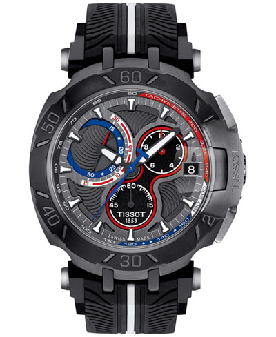 Tissot Men's Swiss Chronograph T-Race Nicky Hayden Black Rubber Strap Watch 47x45mm - Limited Edition