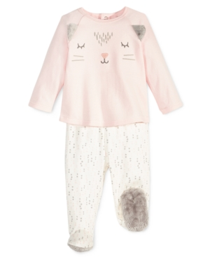First Impressions 2Pc Cat Top  Footed Pants Set with Faux Fur Trim Baby Girls (024 months) Created for Macys