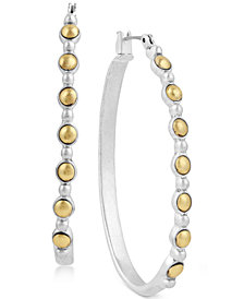 "Lucky Brand Two-Tone 1-3/4"" Hoop Earrings"