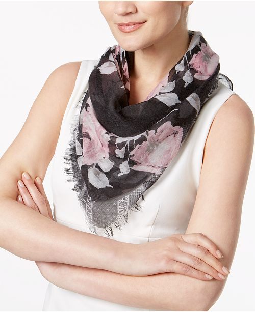 INC International Concepts I.N.C. Rose-Print Triangle Scarf, Created for Macy's