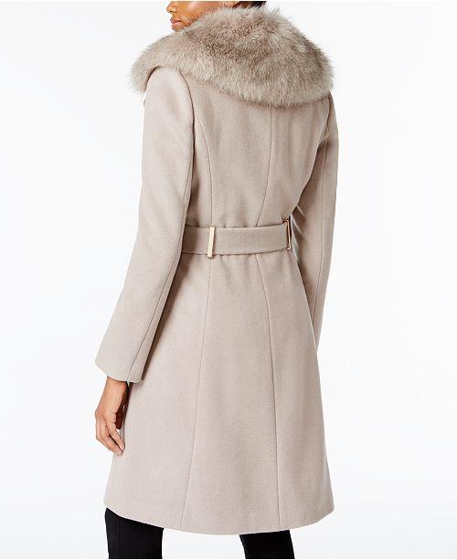 7f66e14cc23d1 T Tahari Faux-Fur-Collar Wrap Coat   Reviews - Coats - Women - Macy s