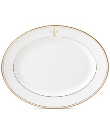 Lenox Federal Gold Monogram Oval Platter, Block Letters