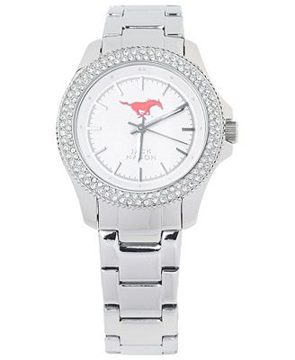 Jack Mason Women's Southern Methodist Mustangs Glitz Sport Bracelet Watch