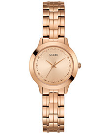 GUESS Women's Rose Gold-Tone Stainless Steel Bracelet Watch 30mm