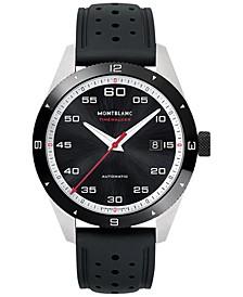 Men's Swiss Timewalker Date Automatic Black Rubber Strap Watch 41mm