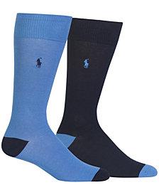 Polo Ralph Lauren Men's Contrast-Heel Dress Socks 2-Pack