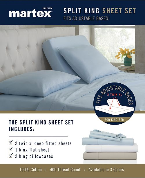 Martex Split King 5 Pc Sheet Sets 400 Thread Count 100 Cotton