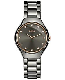 Women's Swiss True Diamond-Accent Plasma-Tone Ceramic Bracelet Watch 30mm