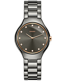 Rado Women's Swiss True Diamond-Accent Plasma-Tone Ceramic Bracelet Watch 30mm