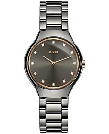 Rado Women's Swiss True Diamond-Accent Plasma-Tone Ceramic Bracelet Watch 30mm