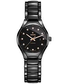 Women's Swiss Automatic True Diamond (1/10 ct. t.w.) Black Ceramic Bracelet Watch 30mm