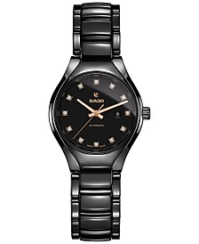 Rado Women's Swiss Automatic True Diamond (1/10 ct. t.w.) Black Ceramic Bracelet Watch 30mm