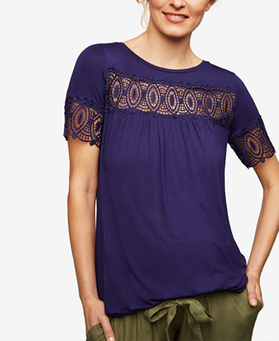 A Pea In The Pod Maternity Lace-Trim T-Shirt