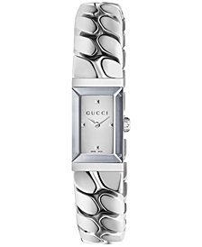 Gucci Women's Swiss G-Frame Stainless Steel Chain Bracelet Watch 14x25mm