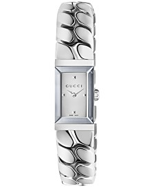 Gucci Women's Swiss G-Frame Stainless Steel Chain Bracelet Watch 14x25mm