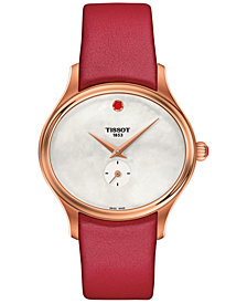 Tissot Women's Swiss Bella Ora Red Leather Strap Watch 31mm
