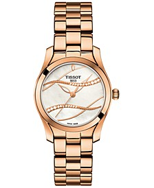 Women's Swiss T-Wave ll Diamond-Accent Rose Gold-Tone Stainless Steel Bracelet Watch 30mm