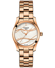 Tissot Women's Swiss T-Wave ll Diamond-Accent Rose Gold-Tone Stainless Steel Bracelet Watch 30mm
