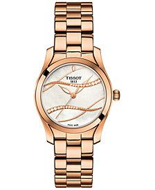 Tissot Women's Swiss T-Wave ll Diamond-Accent Rose Gold-Tone Stainless Steel Bracelet Watch 30mm
