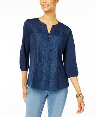 Style & Co Mixed-Lace Peasant Blouse, Created for Macy's