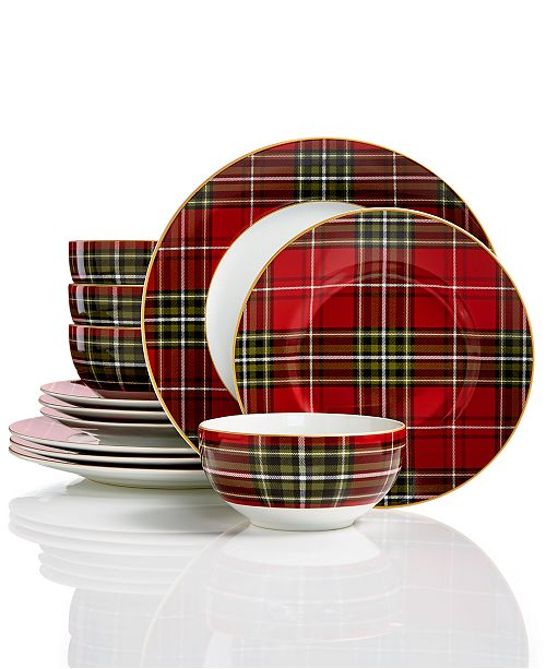 222 Fifth Wexford Plaid 12-Pc. Dinnerware Set - Dinnerware - Dining ...