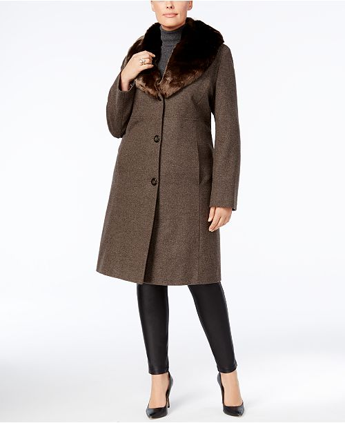 1c20d426929 Jones New York Plus Size Faux-Fur-Collar Walker Coat   Reviews ...