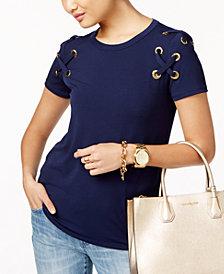 MICHAEL Michael Kors Lace-Up T-Shirt, In Regular & Petite Sizes