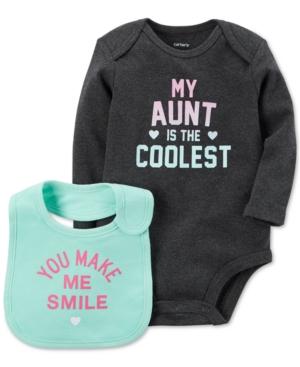 Carters 2Pc My Aunt Is The Coolest Cotton Bodysuit  Bib Set Baby Girls (024 months)