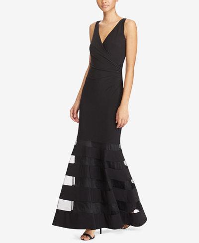 Lauren Ralph Lauren Tulle Panel Jersey Gown Dresses